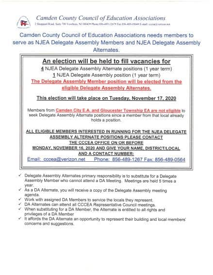 NJEA Delegate Assembly Elections Deadline 11/16